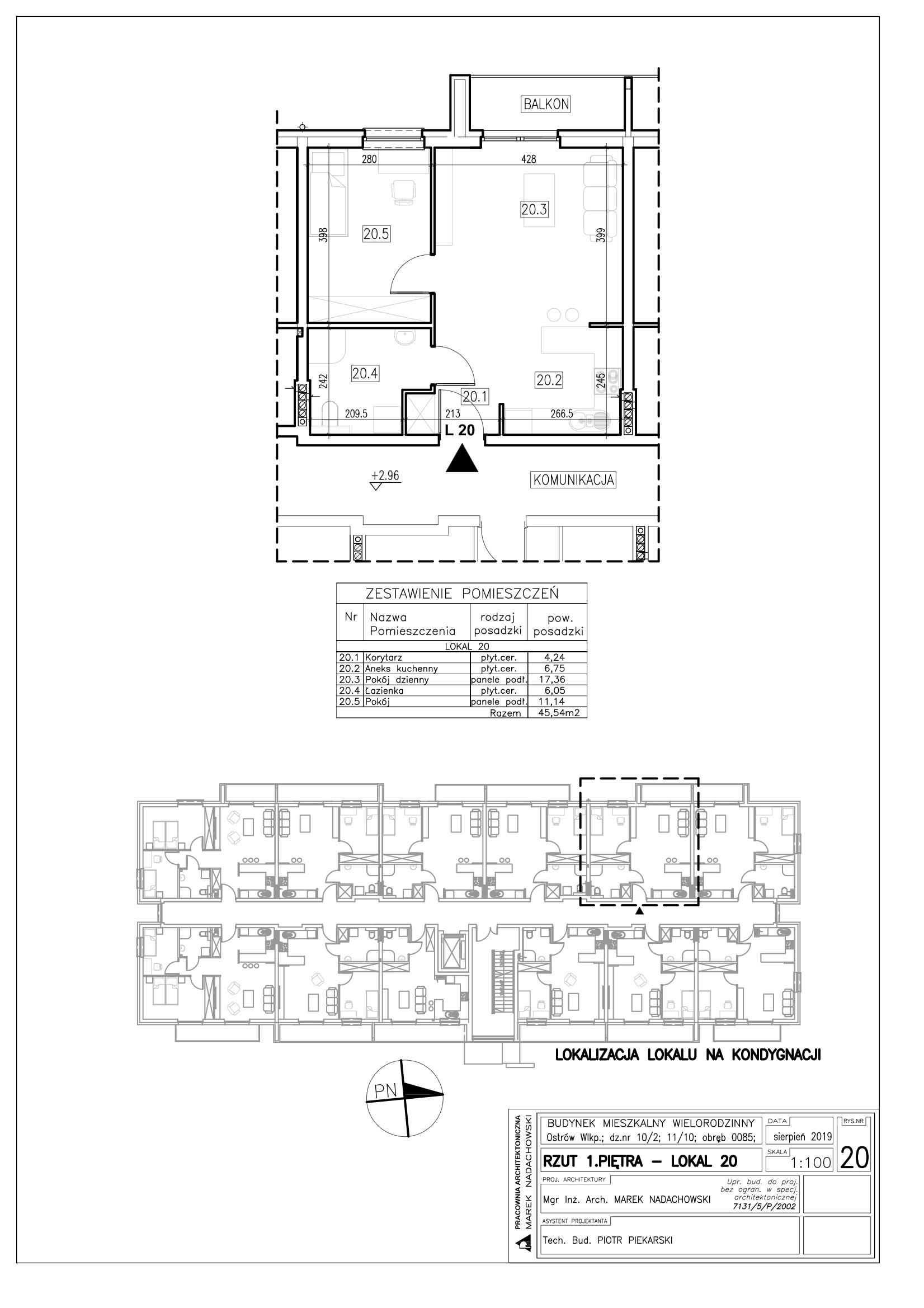 Lokal nr 20 powierzchnia 45,54m2