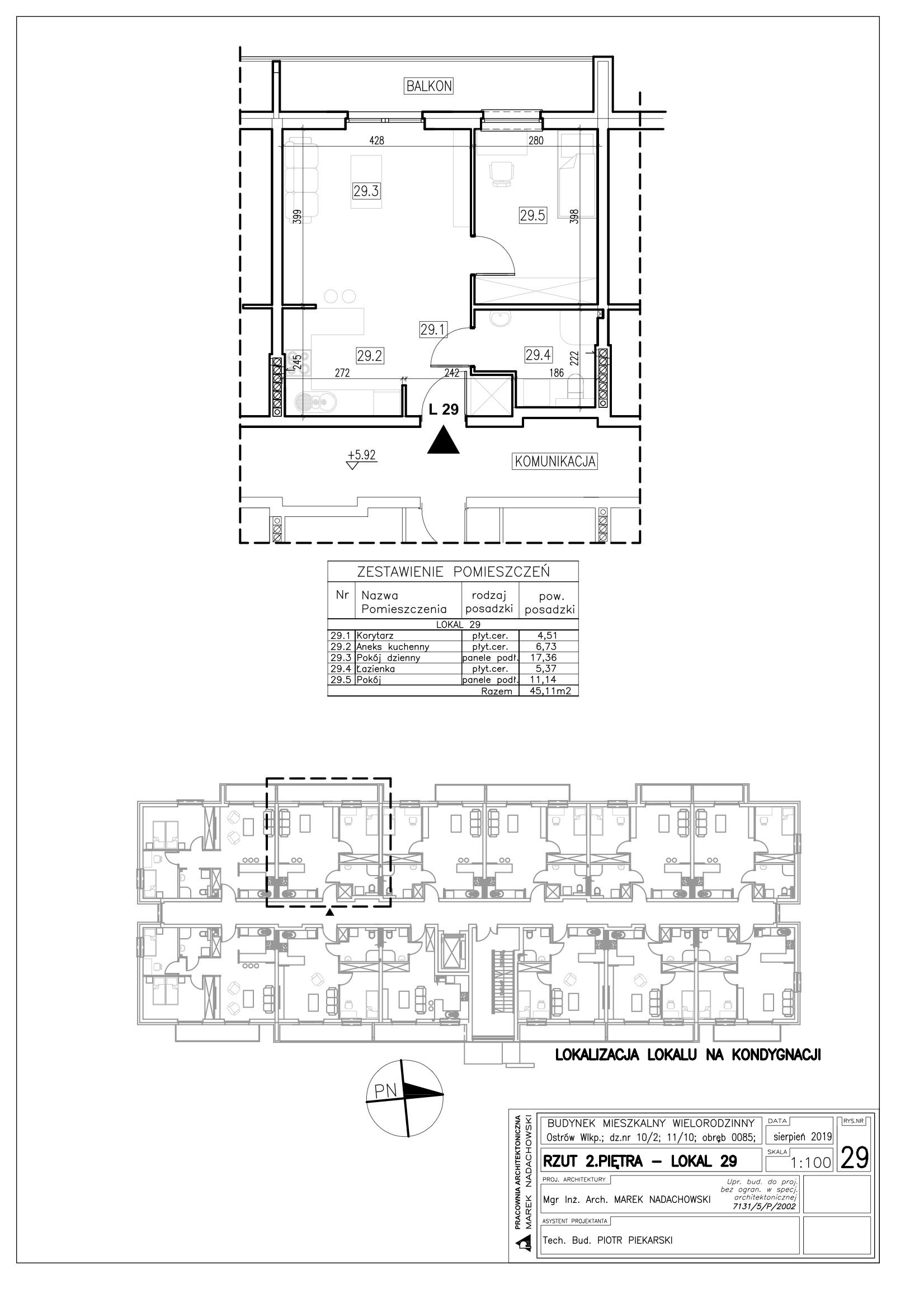 Lokal nr 29 powierzchnia 45,11m2