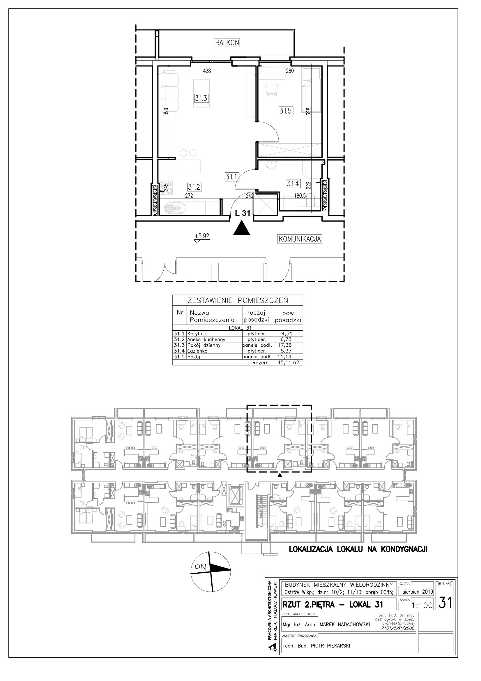 Lokal nr 31 powierzchnia 45,11m2