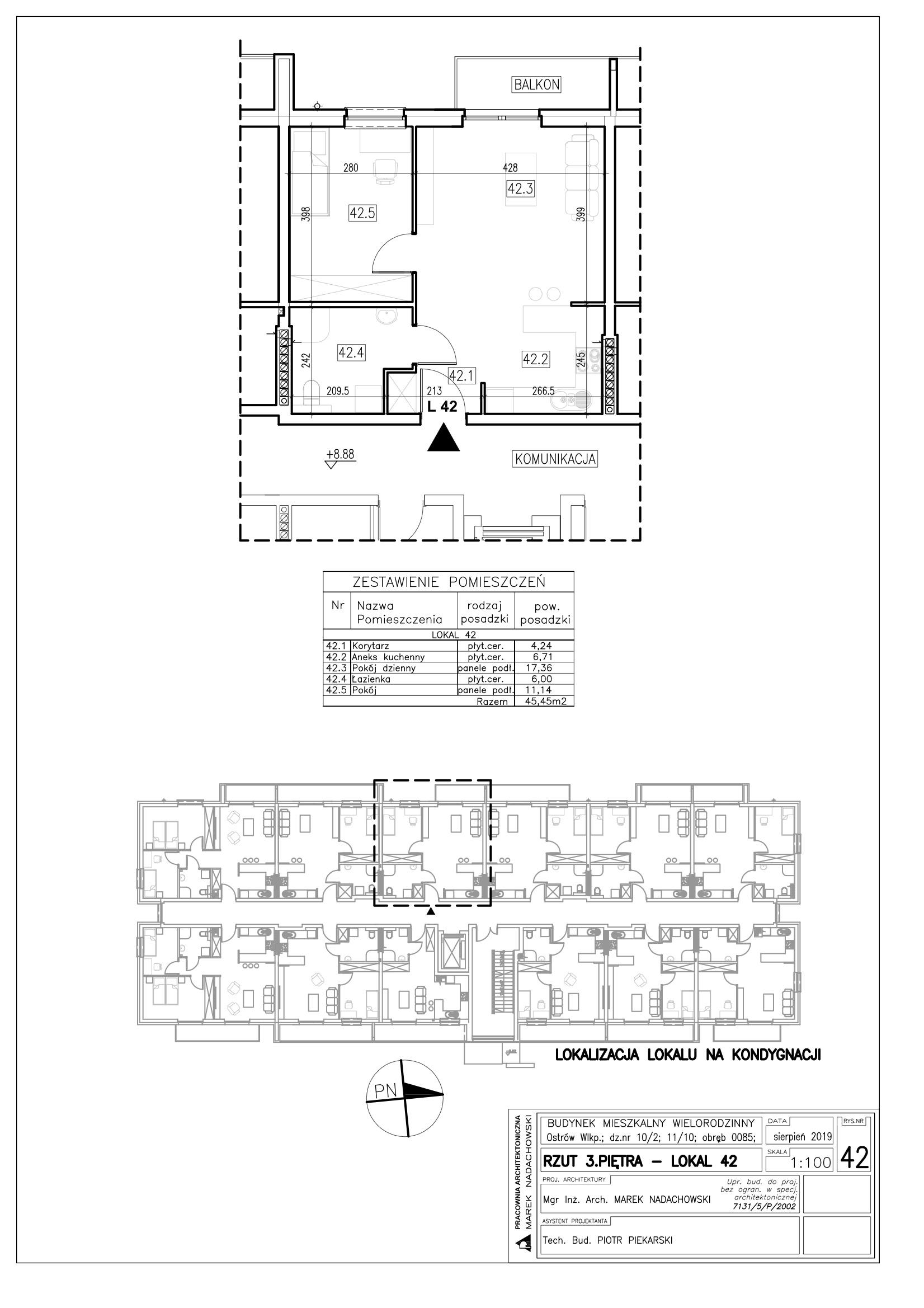 Lokal nr 42 powierzchnia 45,45m2